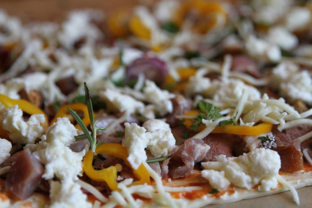 Pizza med vildtkød